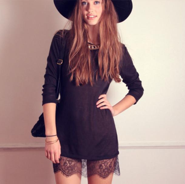 dress lace black dress black long sleeves round neck line loose fitting dress scalloped edges