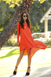 viva luxury,dress,bag,shoes,jewels,sunglasses,orange dress,high low dress,high heel sandals