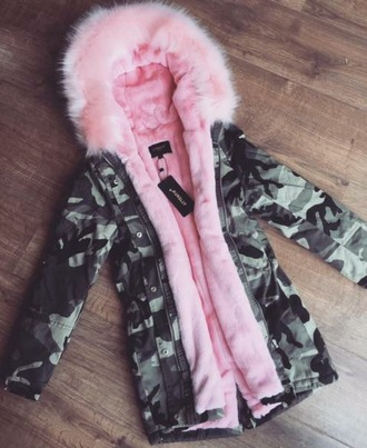 coat pink jacket camouflage fluffy adidas boots with fur cute pretty green red new style stylish fur