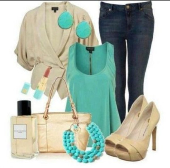 sweater beige sweater blouse high heels teal denim perfume tote bag cosmetics skinny jeans