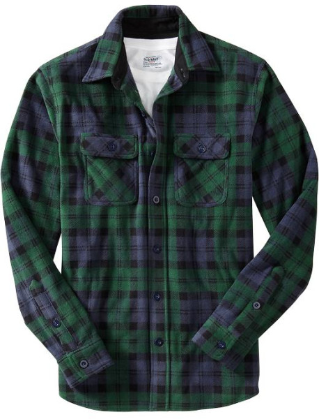 Old Navy Performance Fleece Shirt Jacket in Green for Men (green plaid) | Lyst