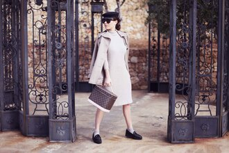 frassy blogger winter dress knitted dress oxfords trench coat louis vuitton bag fisherman cap