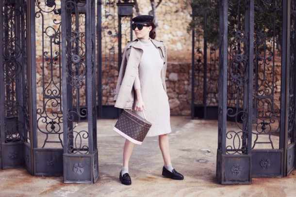 frassy blogger winter dress knitted dress oxfords trench coat louis vuitton bag fisherman cap white knit dress