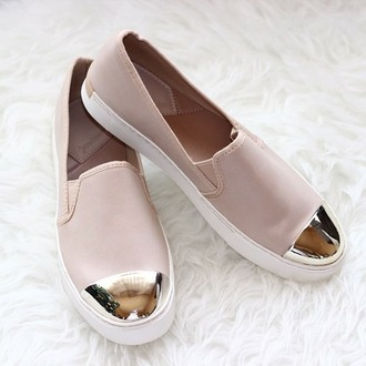 shoes pink shoes metallic shoes slip on shoes vans gold&pink rose slip-on miroir dor? hair accessory pink nude flats
