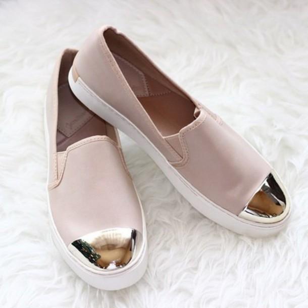 shoes, pink shoes, metallic shoes, slip