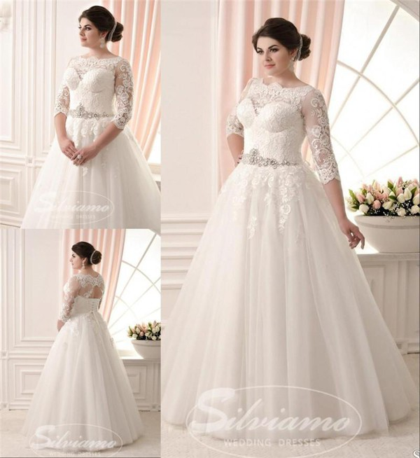 Dress Plus Size Wedding Dresses A Line Long Sleeve Lace Beaded Sash Boho
