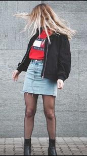 jacket,black jacket,denim skirt,tommy hilfiger,fishnet tights,grunge,black boots,heel boots,bomber jacket,graphic tee