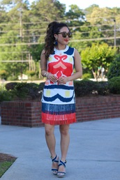 gracefullee made,blogger,dress,shoes,sunglasses,jewels,make-up,colorful,ruffle,blue heels,summer dress,date outfit,office outfits