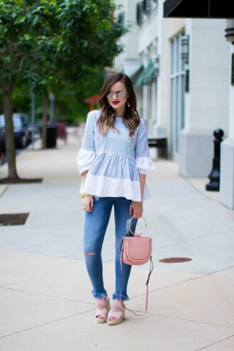 kiss me darling blogger top shoes jewels sunglasses make-up pink bag wedges sandals blue top summer outfits
