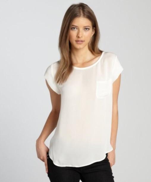 blouse white silk pocket t shirt wheretoget ForSilk White T Shirt
