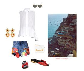 zanita blogger embellished denim white shirt summer outfits shirt jewels shorts bag shoes