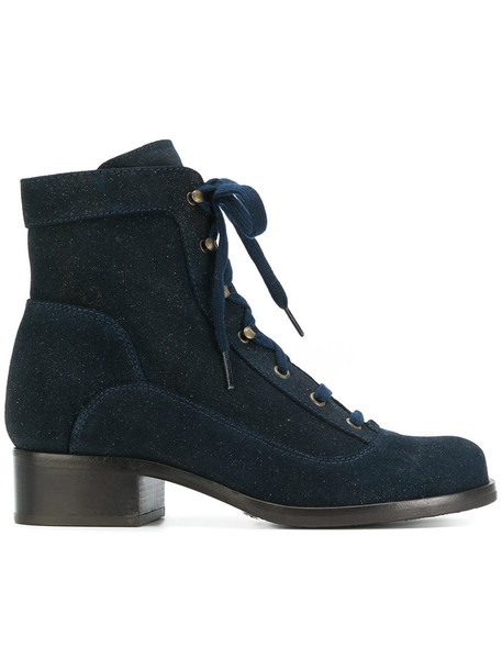 Chie Mihara biker boots women boots leather blue shoes