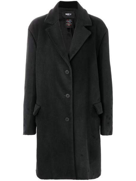 YANG LI coat boyfriend coat women boyfriend black wool