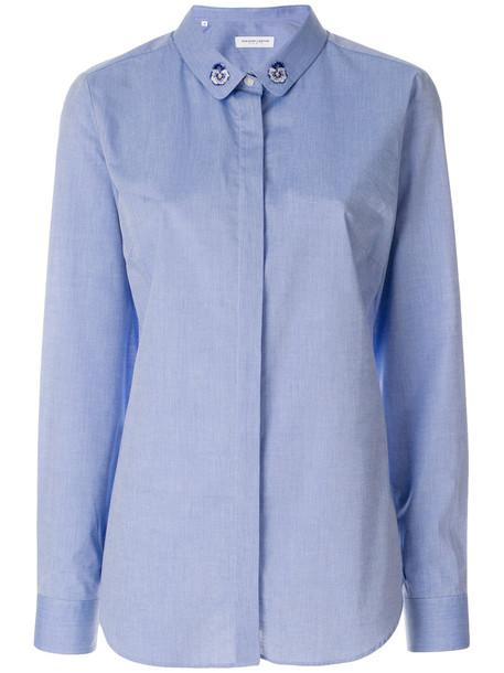 Maison Labiche shirt collar shirt embroidered women floral cotton blue top