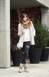 the marcy stop,blogger,sweater,scarf,black jeans,ripped jeans,winter boots,winter jacket,fall outfits,infinity scarf,black ripped jeans,jacket,jeans,jewels,shoes,winter outfits,ankle boots