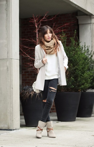 the marcy stop blogger sweater scarf black jeans ripped jeans winter boots winter jacket fall outfits infinity scarf black ripped jeans jacket jeans jewels shoes winter outfits ankle boots