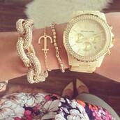 jewels,watch,michael kors,cream,gold,jewelry,bracelets,rosy style,chic,sparkle jewelry