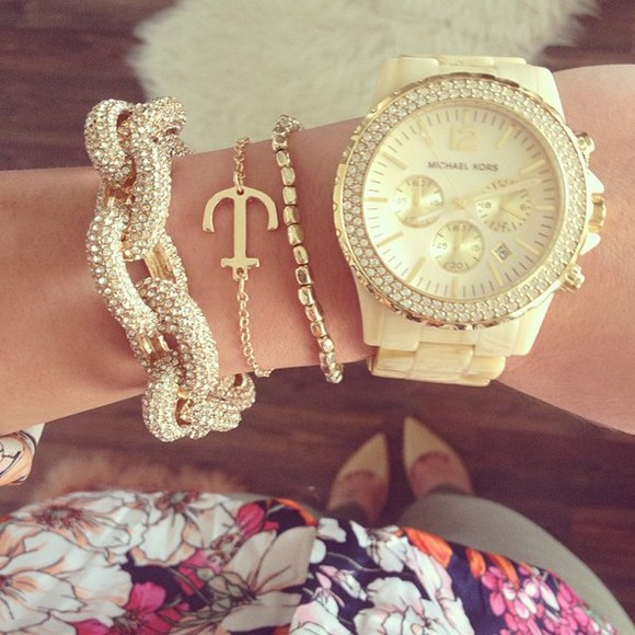 jewels chic gold jewlery bracelets rosy style sparkle jewelry watch michael kors cream