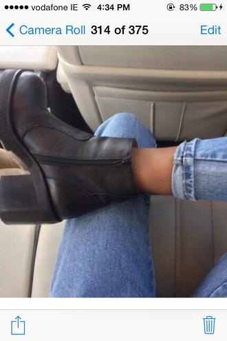 shoes black black shoes leather black leather block heel. platform zip boot flats casual