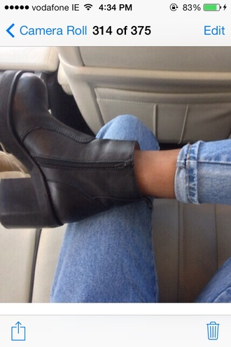 shoes black blackshoes leather black leather block heel. platform zip boot flats casual