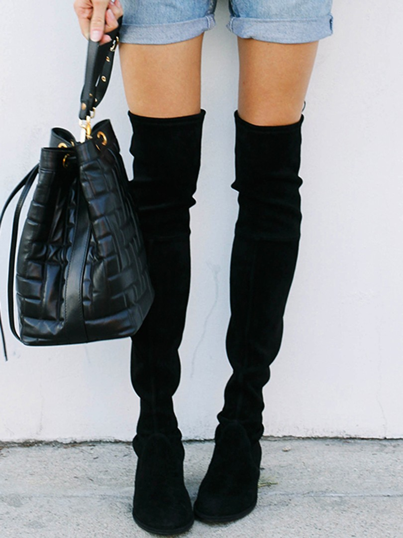 Over the Knee Boots Stretch Suede Laced Back High Heels