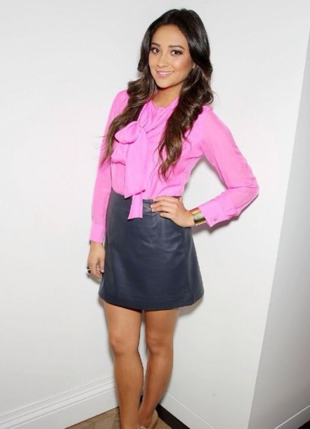 shay mitchell black skirt leather skirt blouse dress