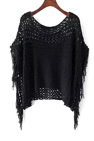 blouse top black black top batwing fringes fringes top zaful back to school all black everything casual streetstyle goth goth hipster fall outfits knitwear knitted sweater black sweater loose oversized autumn/winter
