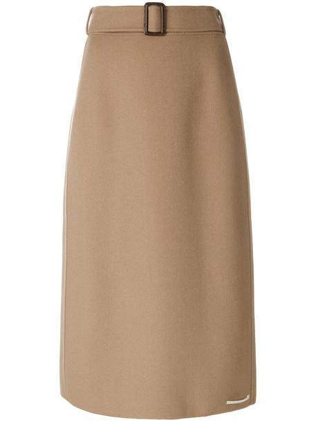 skirt midi skirt women midi wool brown