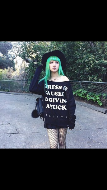 sweater black cute pastel goth goth hell goth gothic grunge black sweater pastel goth tights