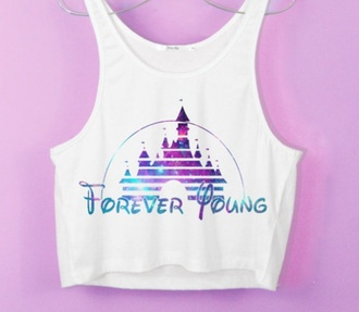 pink purple crop tops disney white forever young shirt