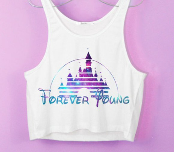 disney crop tops purple pink white forever young shirt