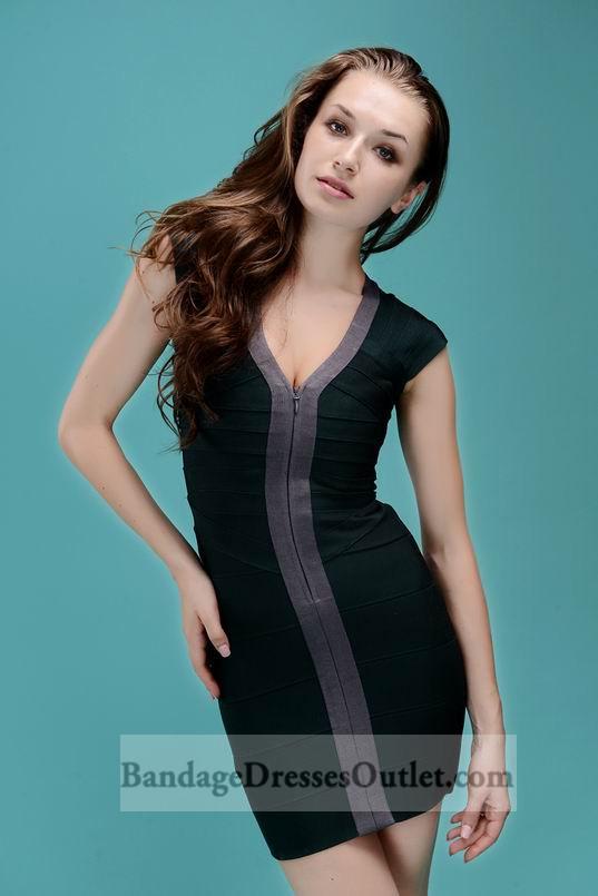 Deep V Neck Sleeveless Front Zipper Dark Green Bandage Dress [Front Zipper Dark Green] - $155.00 : Cheap Bandage Dresses Online, Wholesale Price Bandage Dresses Outlet