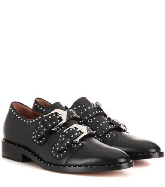 Givenchy Elegant Embellished Leather Monk Strap Shoes in black