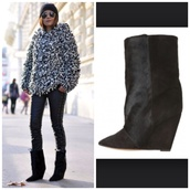 shoes,isabel marant,pony hair,boots,isabel marant pour h&m,black high heels,shoes black wedges,wedges,hat,pony hair boots,leather pants,mirrored sunglasses