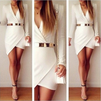 dress white dress summer gold belt