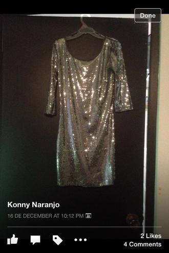 dress glitter shiny gold silver backless