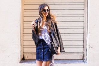 cuppajyo blogger top skirt jacket sunglasses bag jewels shoes