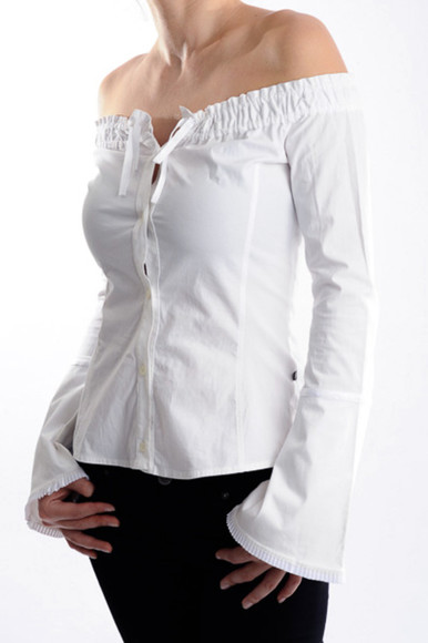 blouse off the shoulder shirt top white white top elastic hem long sleeves button up form fitting bell cuffs