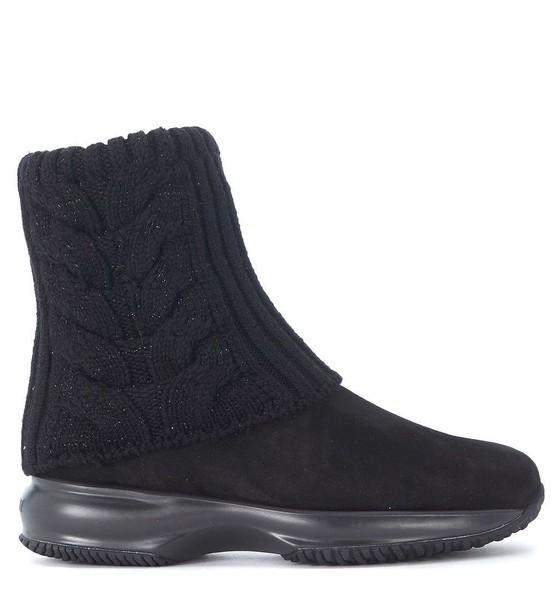 Hogan black boots suede black wool shoes