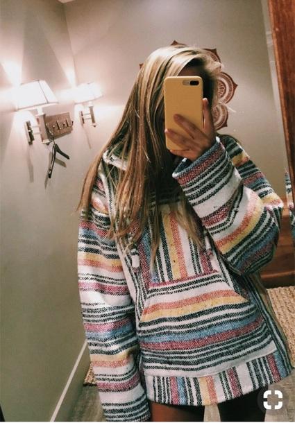 sweater baja sweater comfy colorful stripes hippie cool shirt drug rug hoodie jacket baja hoodie