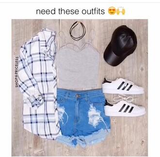 top grey top tank top crop tops plaid shirt denim shorts cap adidas superstars