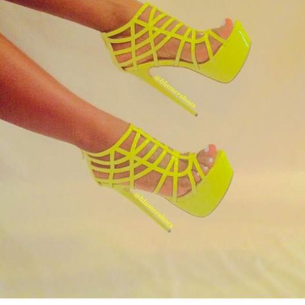 shoes neon yellow heels heels yellow yellow high heels high heels