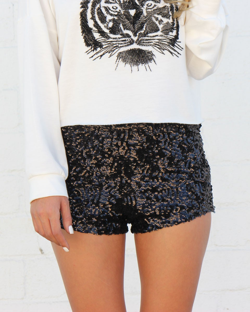 Waist Black Sequin Shorts