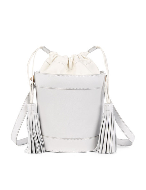 bag bucket bag leather white