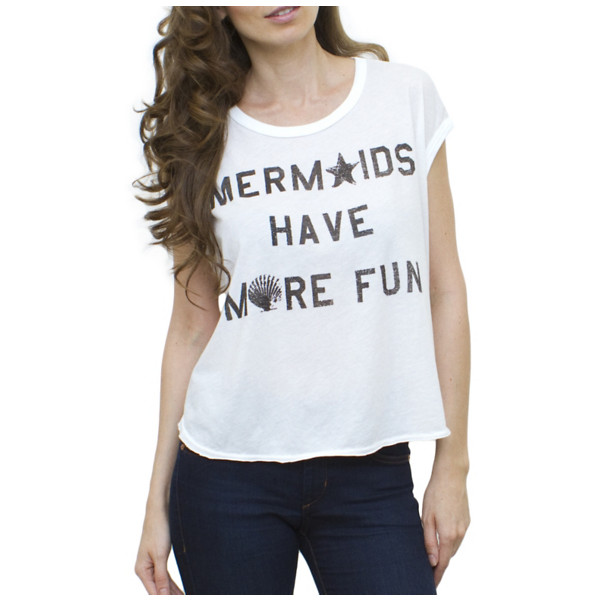 Mermaids Have More Fun Cosmo Cropped Tee - Polyvore
