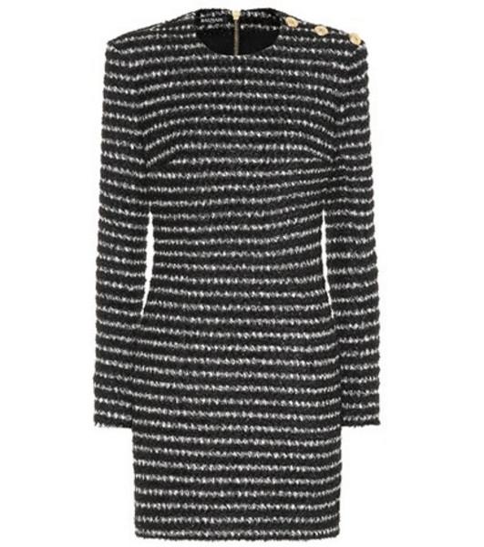 Balmain Striped tweed minidress in black