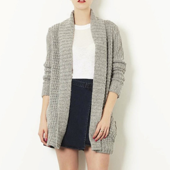 sweater grey cardigan knitted cardigan open front cardigan gray cardigan knitted sweater