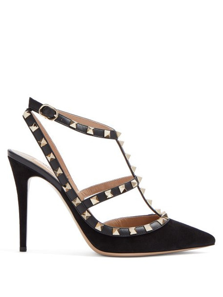 Valentino - Rockstud Suede Pumps - Womens - Black