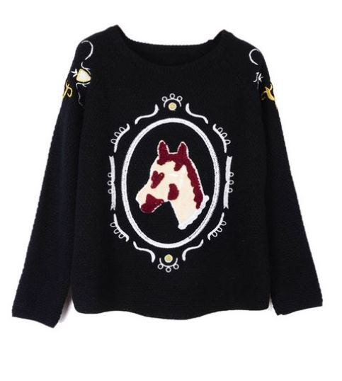 Black Horse Head Sweater with Embroidery Detail