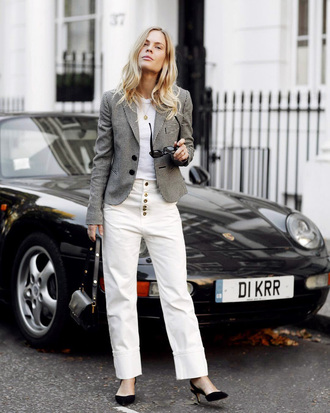 jacket tumblr blazer grey blazer denim jeans white jeans pumps top